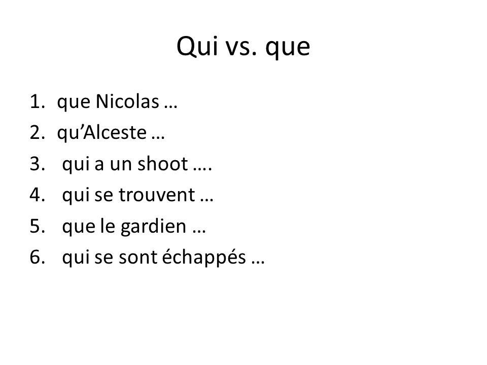 Qui vs. que 1.que Nicolas … 2.quAlceste … 3. qui a un shoot ….