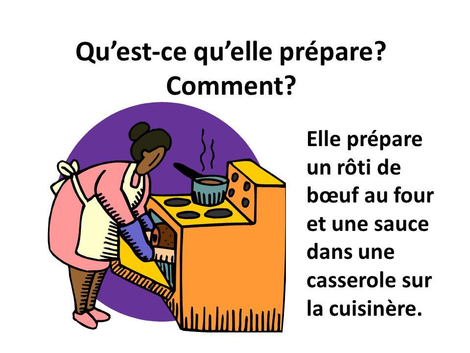 Quest-ce quelle prépare? Comment? Elle prépare un rôti de bœuf au four et une sauce dans une casserole sur la cuisinère.
