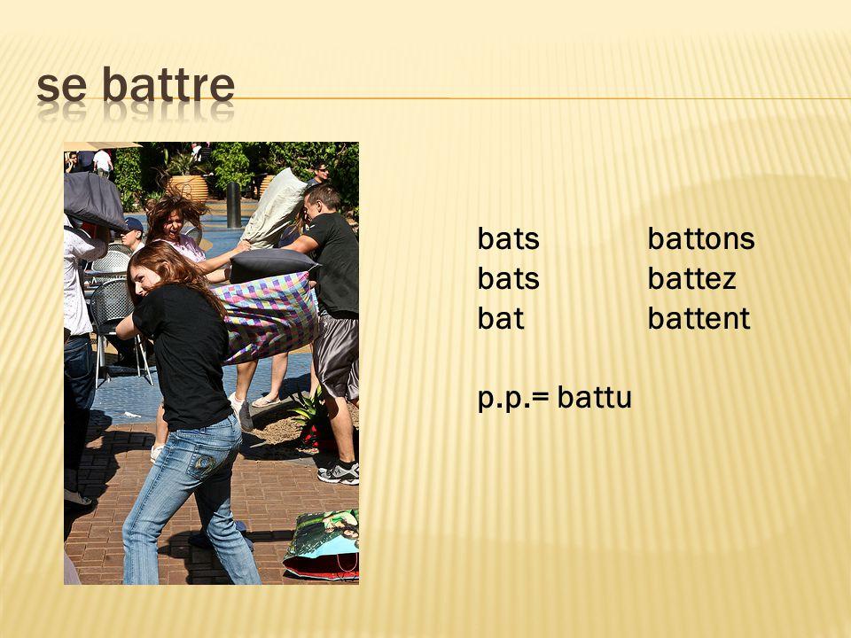 batsbattons batsbattez batbattent p.p.= battu