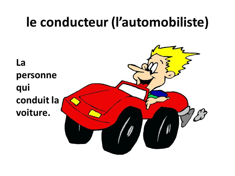 le conducteur (lautomobiliste) La personne qui conduit la voiture.