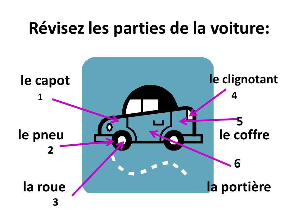 Révisez les parties de la voiture: 2 1 3 4 le capot le pneule coffre la portière 5 la roue le clignotant 6
