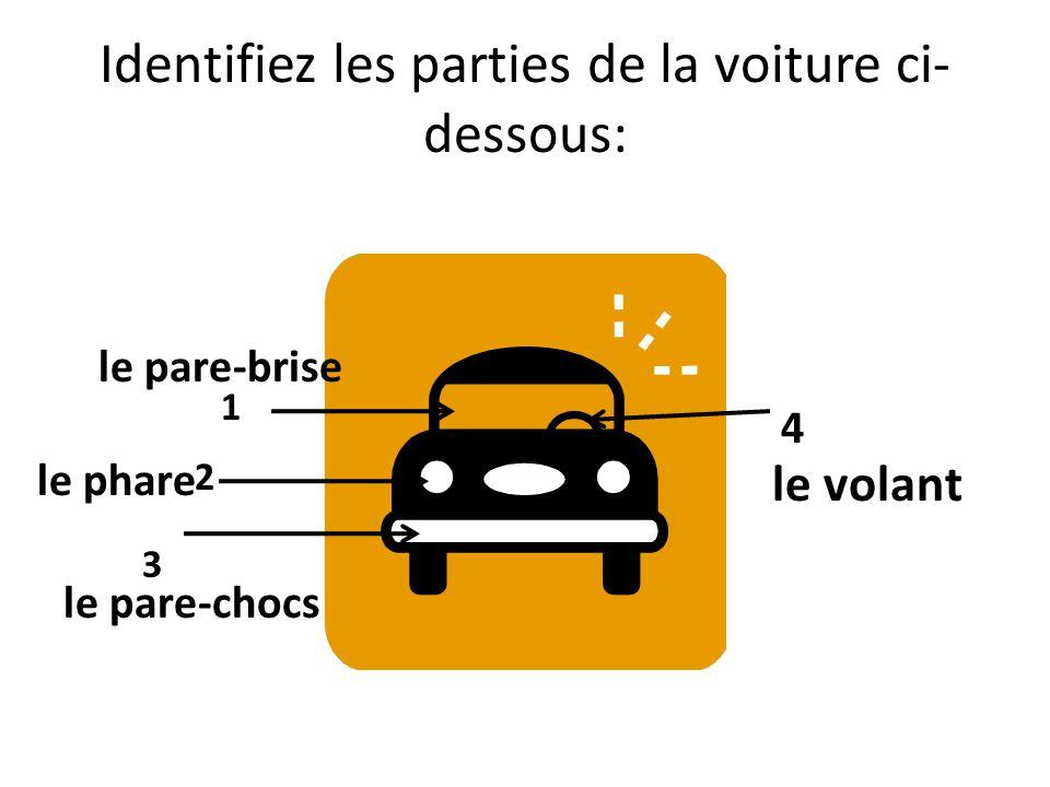 Identifiez les parties de la voiture ci- dessous: 1 2 3 4 le pare-brise le phare le pare-chocs le volant