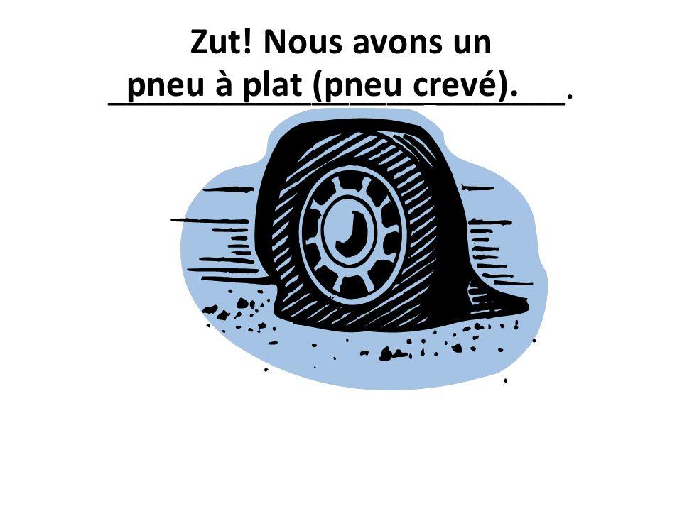 Zut! Nous avons un _________________ _______. pneu à plat (pneu crevé).