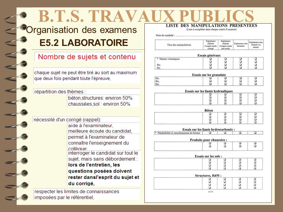 B.T.S. TRAVAUX PUBLICS Organisation des examens E5.2 LABORATOIRE