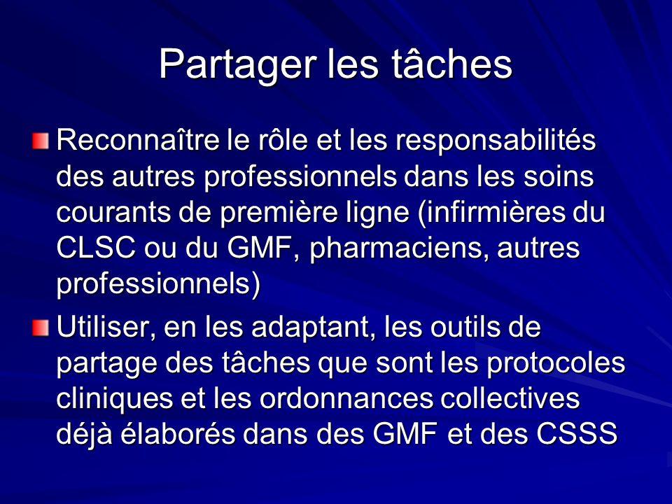 Partager les tâches Reconnaître le rôle et les responsabilités des autres professionnels dans les soins courants de première ligne (infirmières du CLSC ou du GMF, pharmaciens, autres professionnels) Utiliser, en les adaptant, les outils de partage des tâches que sont les protocoles cliniques et les ordonnances collectives déjà élaborés dans des GMF et des CSSS