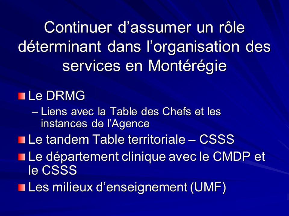Continuer dassumer un rôle déterminant dans lorganisation des services en Montérégie Le DRMG –Liens avec la Table des Chefs et les instances de lAgence Le tandem Table territoriale – CSSS Le département clinique avec le CMDP et le CSSS Les milieux denseignement (UMF)