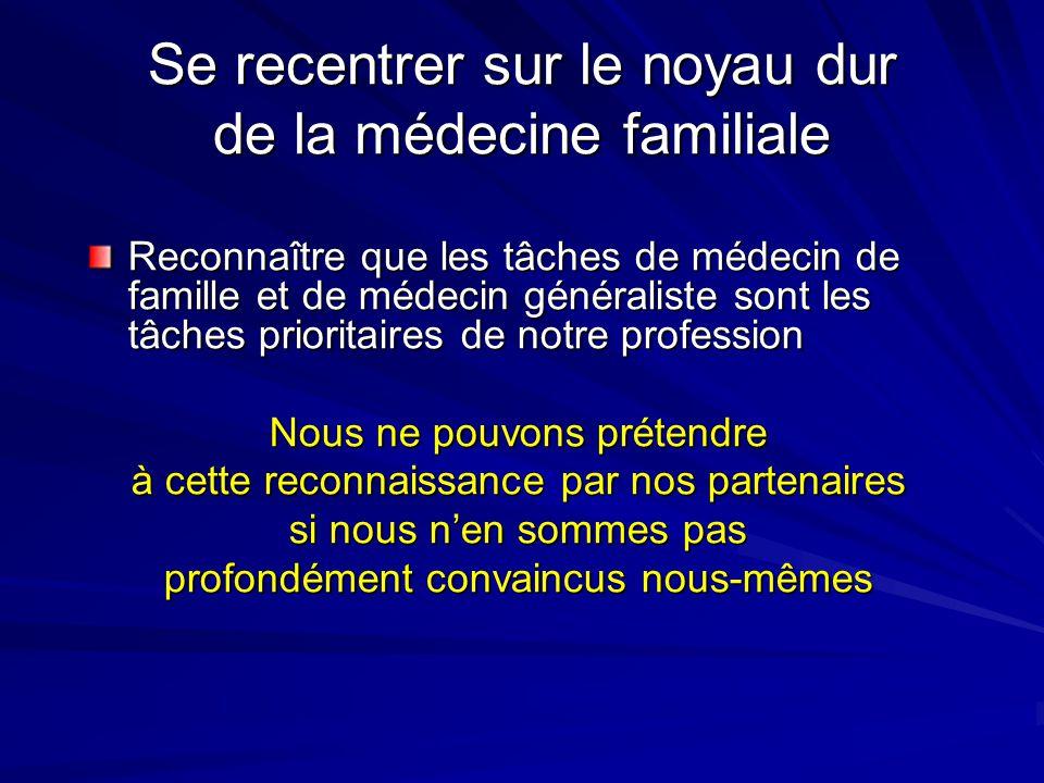 Se recentrer sur le noyau dur de la médecine familiale Reconnaître que les tâches de médecin de famille et de médecin généraliste sont les tâches prioritaires de notre profession Nous ne pouvons prétendre à cette reconnaissance par nos partenaires si nous nen sommes pas profondément convaincus nous-mêmes