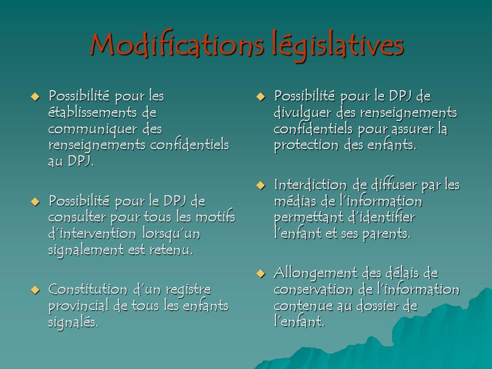 Modifications législatives Possibilité pour les établissements de communiquer des renseignements confidentiels au DPJ.