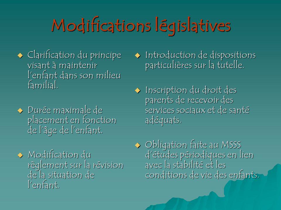 Modifications législatives Clarification du principe visant à maintenir lenfant dans son milieu familial.
