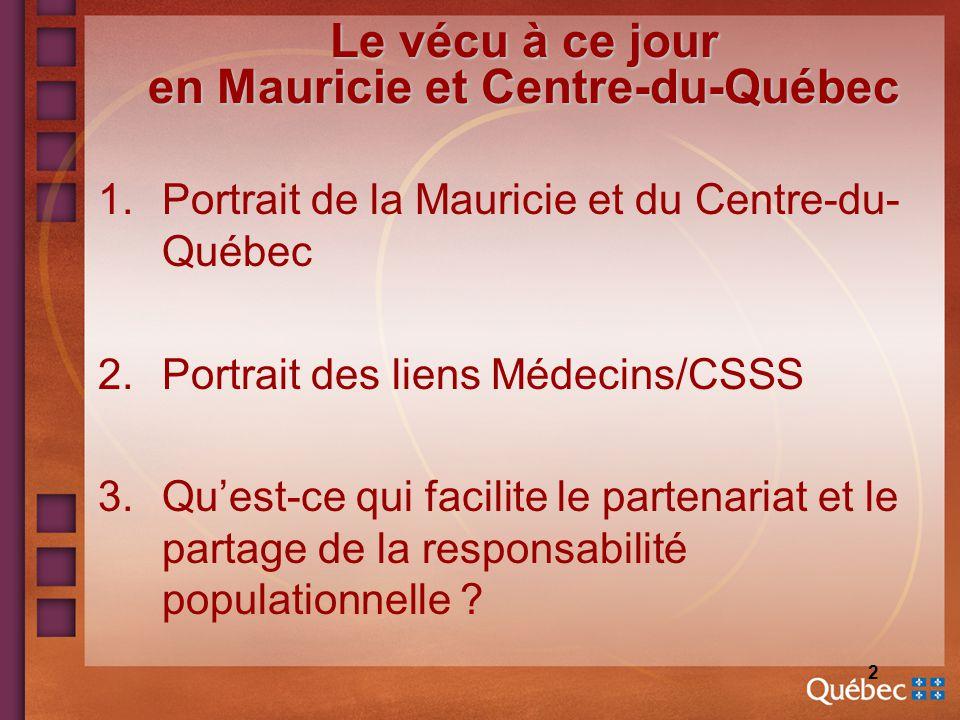 2 Le vécu à ce jour en Mauricie et Centre-du-Québec 1.Portrait de la Mauricie et du Centre-du- Québec 2.Portrait des liens Médecins/CSSS 3.Quest-ce qui facilite le partenariat et le partage de la responsabilité populationnelle