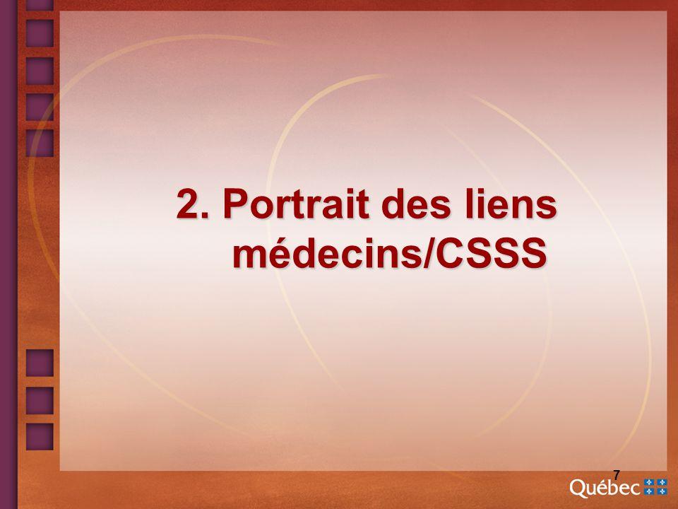 7 2. Portrait des liens médecins/CSSS