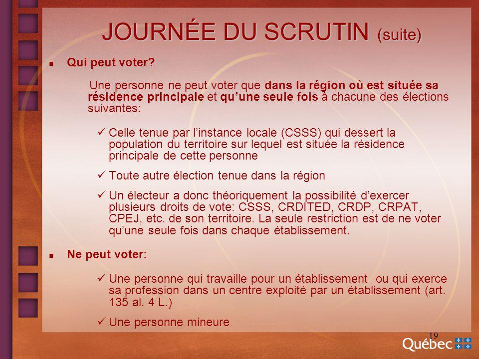 19 JOURNÉE DU SCRUTIN (suite) n Qui peut voter? Une personne ne peut voter que dans la région où est située sa résidence principale et quune seule foi