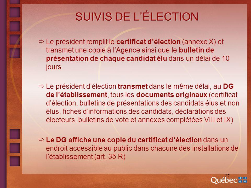 27 SUIVIS DE LÉLECTION Le président remplit le certificat délection (annexe X) et transmet une copie à lAgence ainsi que le bulletin de présentation d