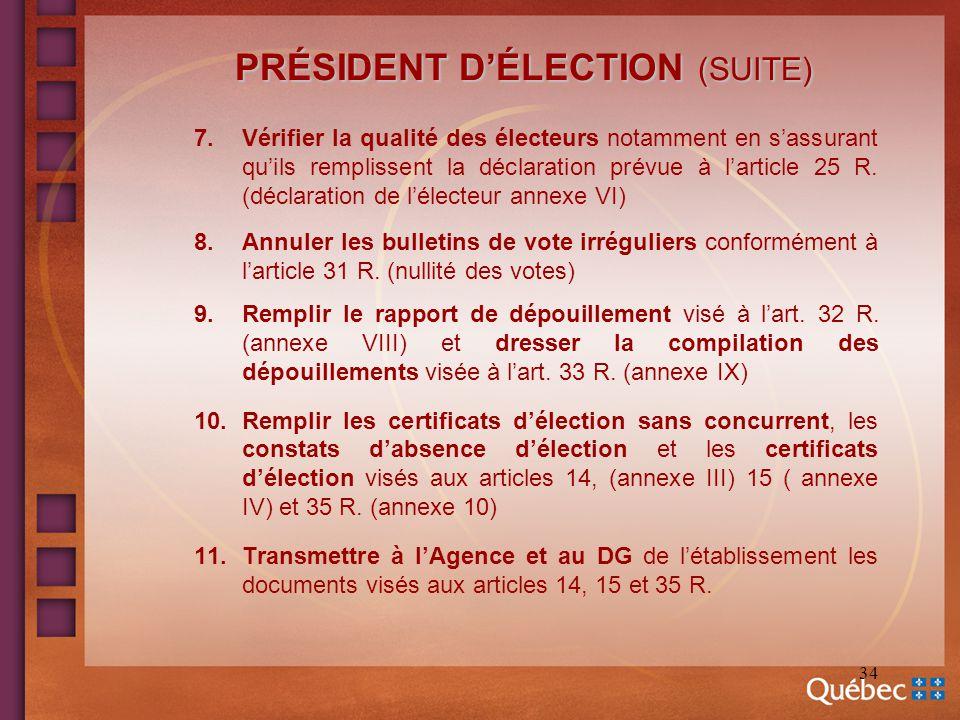 34 PRÉSIDENT DÉLECTION (SUITE) 7.Vérifier la qualité des électeurs notamment en sassurant quils remplissent la déclaration prévue à larticle 25 R. (dé