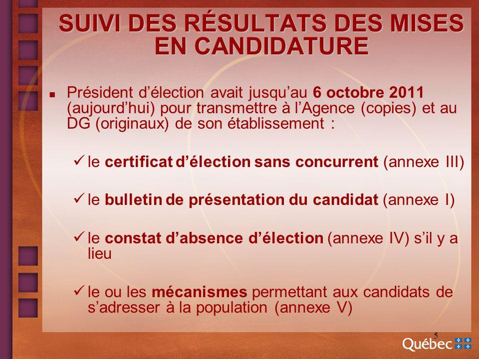 5 SUIVI DES RÉSULTATS DES MISES EN CANDIDATURE n Président délection avait jusquau 6 octobre 2011 (aujourdhui) pour transmettre à lAgence (copies) et