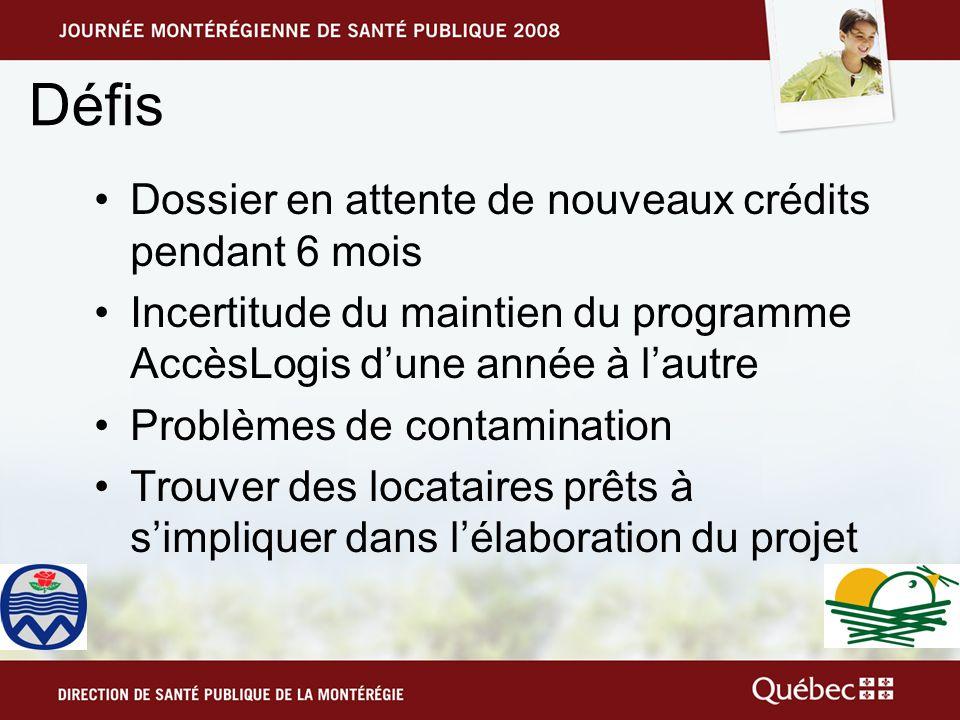 Défis Dossier en attente de nouveaux crédits pendant 6 mois Incertitude du maintien du programme AccèsLogis dune année à lautre Problèmes de contamination Trouver des locataires prêts à simpliquer dans lélaboration du projet