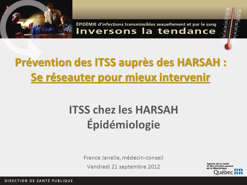 Prévention des ITSS auprès des HARSAH : Se réseauter pour mieux intervenir France Janelle, médecin-conseil Vendredi 21 septembre 2012 ITSS chez les HA