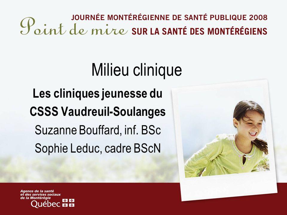 Milieu clinique Les cliniques jeunesse du CSSS Vaudreuil-Soulanges Suzanne Bouffard, inf. BSc Sophie Leduc, cadre BScN