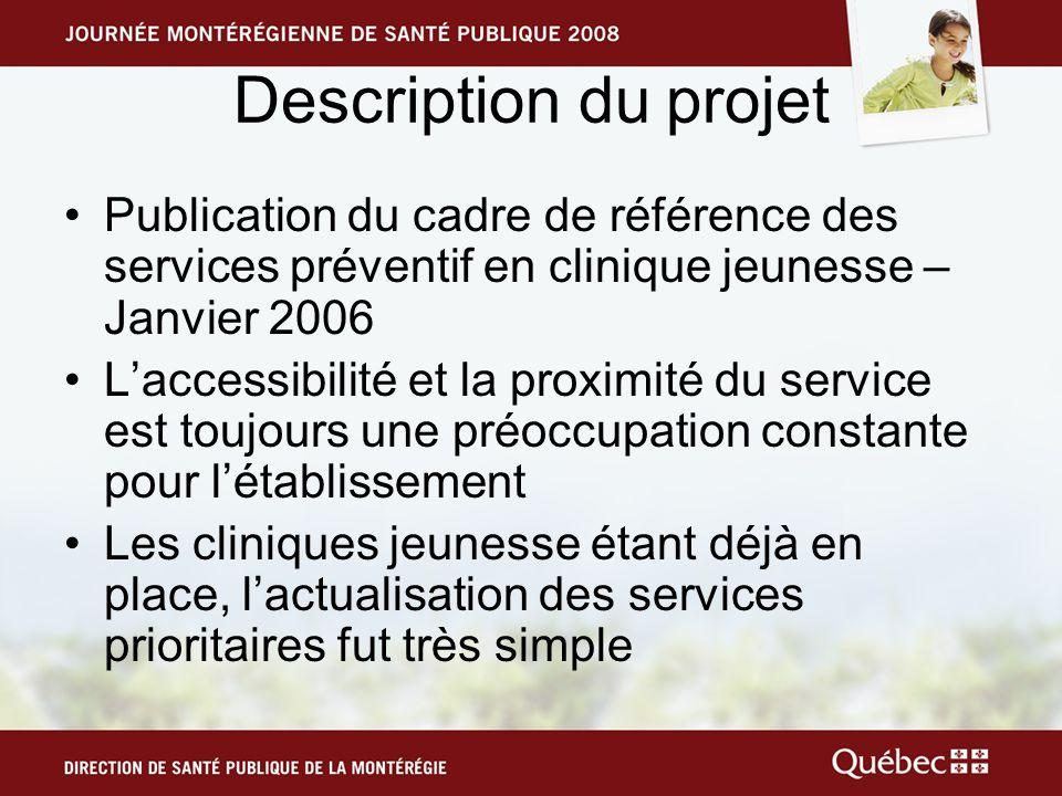 Description du projet Publication du cadre de référence des services préventif en clinique jeunesse – Janvier 2006 Laccessibilité et la proximité du s