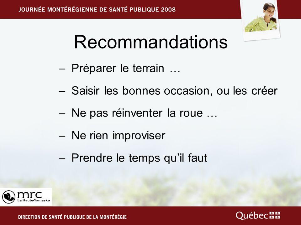 Recommandations –Préparer le terrain … –Saisir les bonnes occasion, ou les créer –Ne pas réinventer la roue … –Ne rien improviser –Prendre le temps quil faut