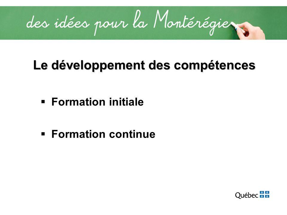 Le développement des compétences Formation initiale Formation continue