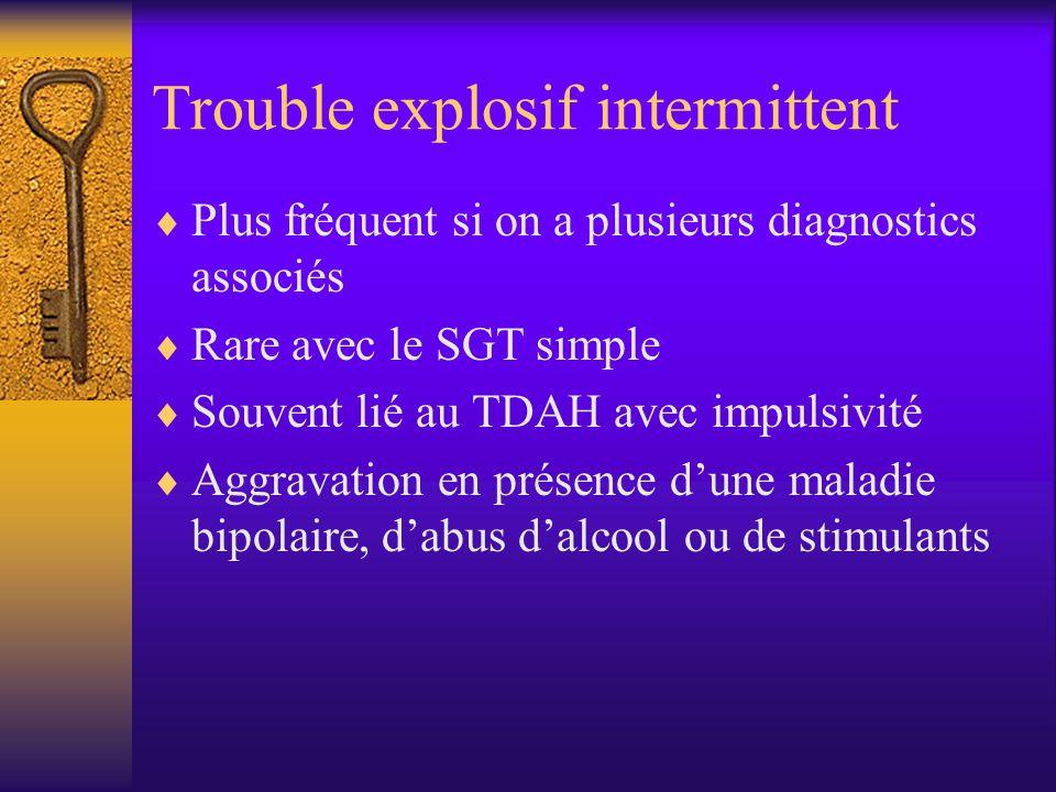 Trouble explosif intermittent Plus fréquent si on a plusieurs diagnostics associés Rare avec le SGT simple Souvent lié au TDAH avec impulsivité Aggrav