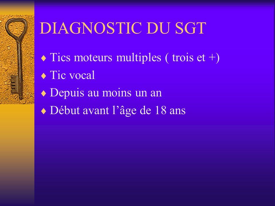 DIAGNOSTIC DU SGT Tics moteurs multiples ( trois et +) Tic vocal Depuis au moins un an Début avant lâge de 18 ans