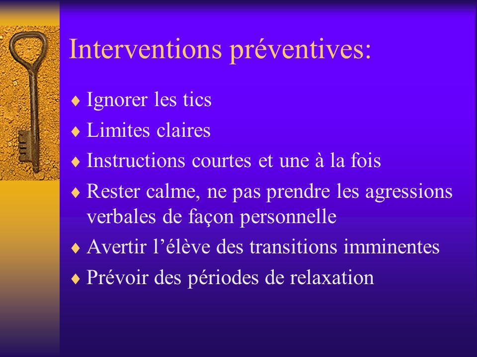 Interventions préventives: Ignorer les tics Limites claires Instructions courtes et une à la fois Rester calme, ne pas prendre les agressions verbales