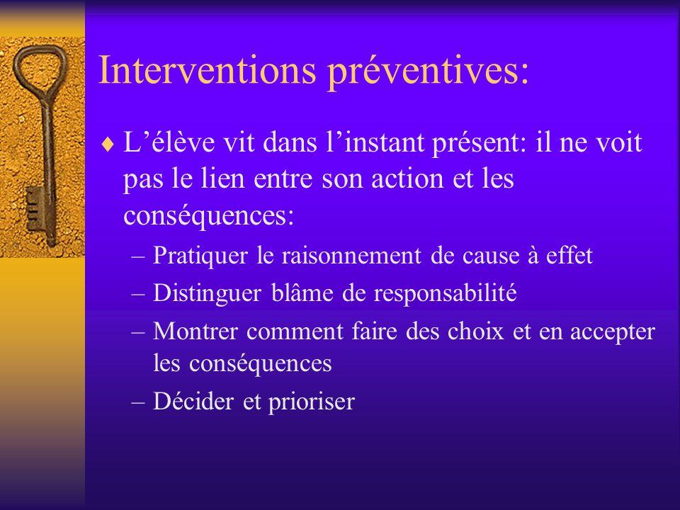 Interventions préventives: Lélève vit dans linstant présent: il ne voit pas le lien entre son action et les conséquences: –Pratiquer le raisonnement d