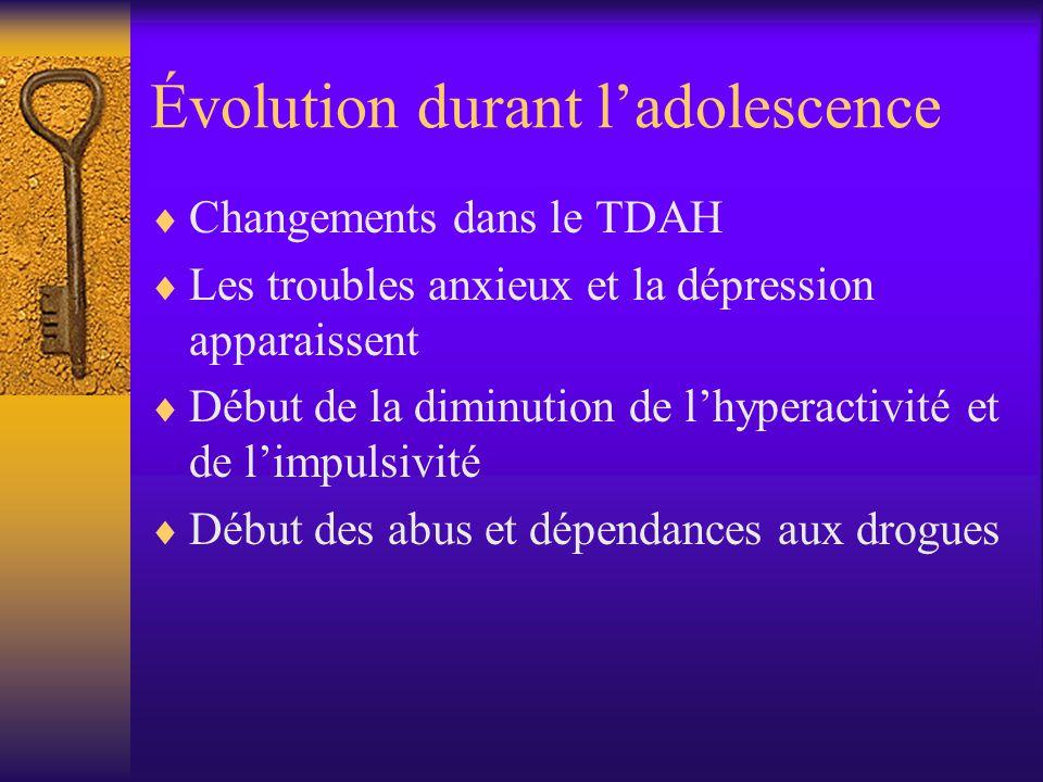 Évolution durant ladolescence Changements dans le TDAH Les troubles anxieux et la dépression apparaissent Début de la diminution de lhyperactivité et