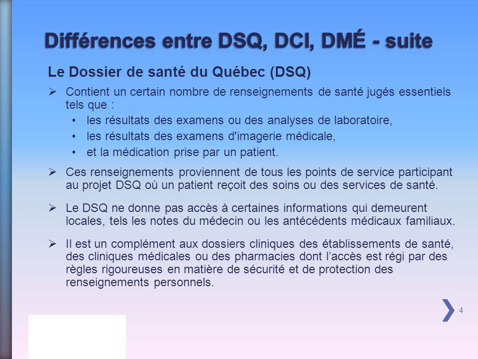 4 Le Dossier de santé du Québec (DSQ) Contient un certain nombre de renseignements de santé jugés essentiels tels que : les résultats des examens ou des analyses de laboratoire, les résultats des examens d imagerie médicale, et la médication prise par un patient.