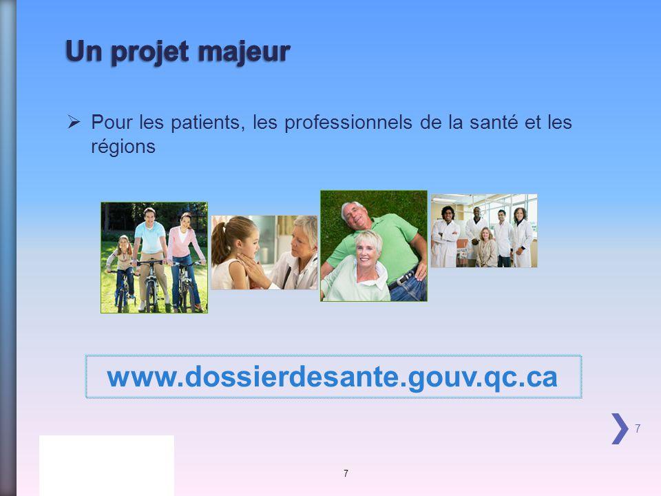 Pour les patients, les professionnels de la santé et les régions 7 7 www.dossierdesante.gouv.qc.ca