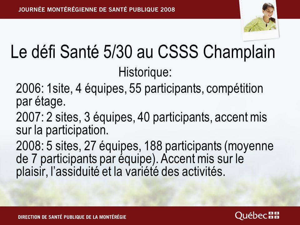 Le défi Santé 5/30 au CSSS Champlain Historique: 2006: 1site, 4 équipes, 55 participants, compétition par étage.
