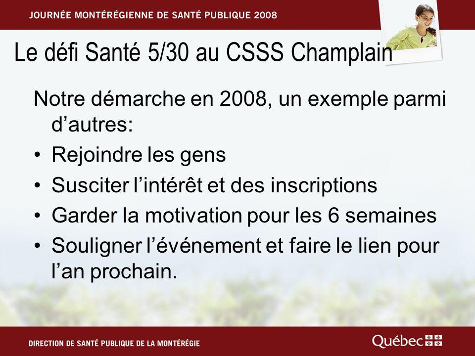 Le défi Santé 5/30 au CSSS Champlain Notre démarche en 2008, un exemple parmi dautres: Rejoindre les gens Susciter lintérêt et des inscriptions Garder la motivation pour les 6 semaines Souligner lévénement et faire le lien pour lan prochain.