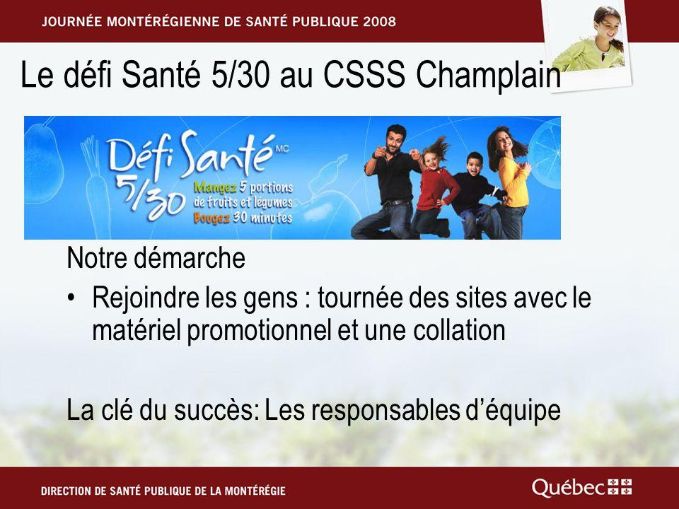 Le défi Santé 5/30 au CSSS Champlain Notre démarche Rejoindre les gens : tournée des sites avec le matériel promotionnel et une collation La clé du succès: Les responsables déquipe