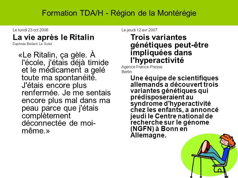 Le lundi 23 oct 2006 La vie après le Ritalin Daphnée Bédard, Le Soleil «Le Ritalin, ça gèle.