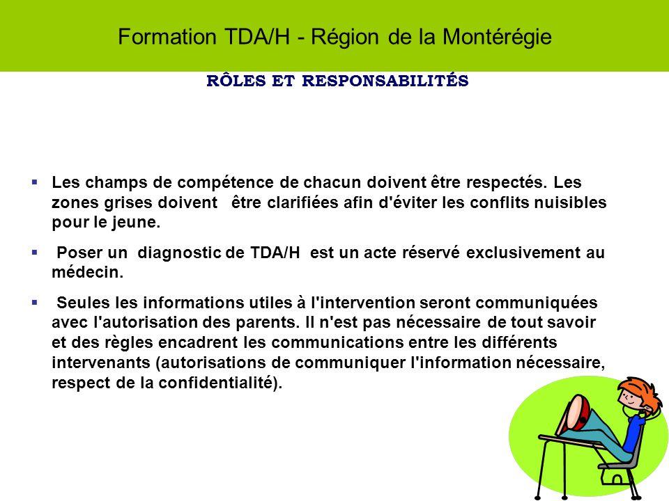 Formation TDA/H - Région de la Montérégie RÔLES ET RESPONSABILITÉS Les champs de compétence de chacun doivent être respectés.