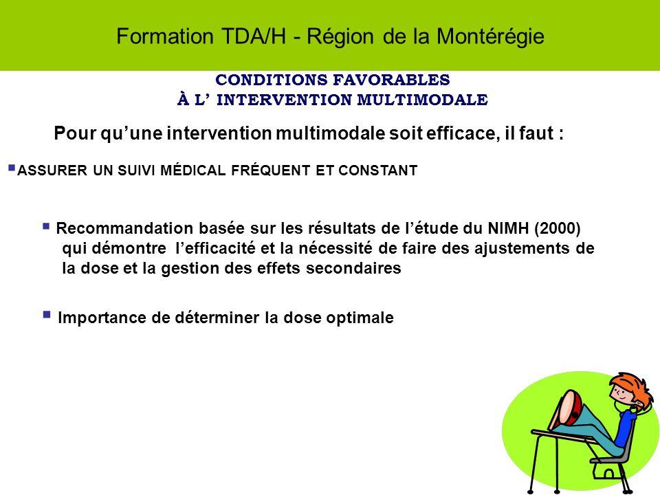 Formation TDA/H - Région de la Montérégie CONDITIONS FAVORABLES À L INTERVENTION MULTIMODALE Pour quune intervention multimodale soit efficace, il faut : ASSURER UN SUIVI MÉDICAL FRÉQUENT ET CONSTANT Recommandation basée sur les résultats de létude du NIMH (2000) qui démontre lefficacité et la nécessité de faire des ajustements de la dose et la gestion des effets secondaires Importance de déterminer la dose optimale