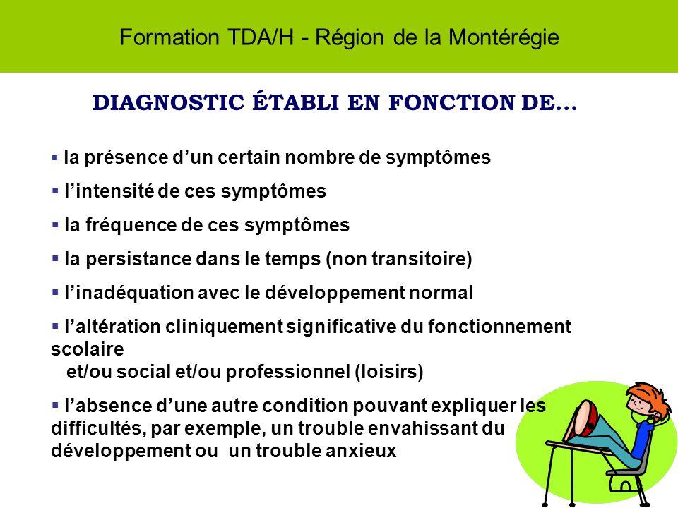 Formation TDA/H - Région de la Montérégie DIAGNOSTIC ÉTABLI EN FONCTION DE...