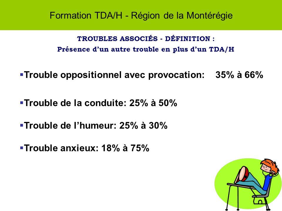 Formation TDA/H - Région de la Montérégie TROUBLES ASSOCIÉS - DÉFINITION : Présence dun autre trouble en plus dun TDA/H Trouble oppositionnel avec provocation: 35% à 66% Trouble de la conduite: 25% à 50% Trouble de lhumeur: 25% à 30% Trouble anxieux: 18% à 75%