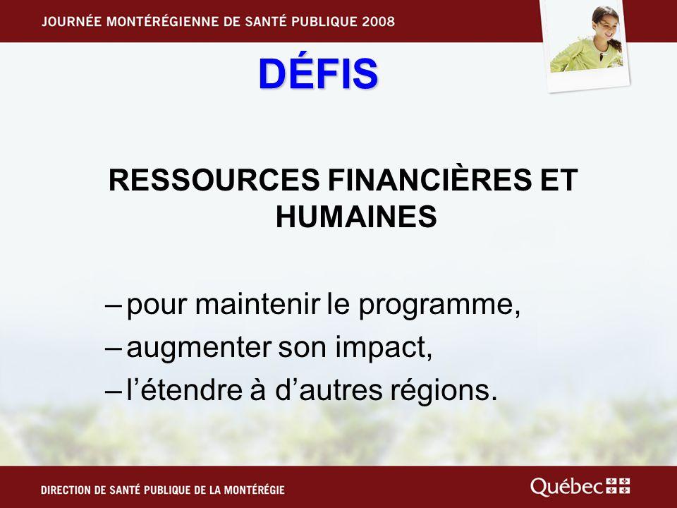 DÉFIS RESSOURCES FINANCIÈRES ET HUMAINES –pour maintenir le programme, –augmenter son impact, –létendre à dautres régions.