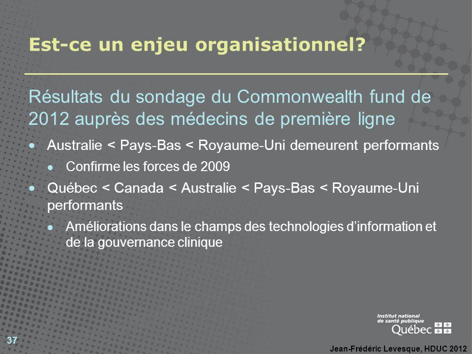 Est-ce un enjeu organisationnel? Résultats du sondage du Commonwealth fund de 2012 auprès des médecins de première ligne Australie < Pays-Bas < Royaum