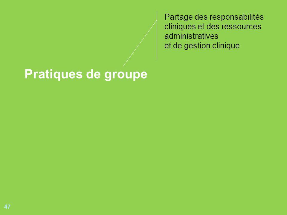 47 Pratiques de groupe Partage des responsabilités cliniques et des ressources administratives et de gestion clinique
