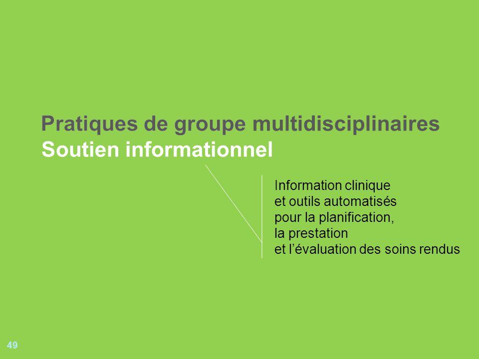 49 Pratiques de groupePratiques de groupe multidisciplinaires Soutien informationnel Information clinique et outils automatisés pour la planification, la prestation et lévaluation des soins rendus