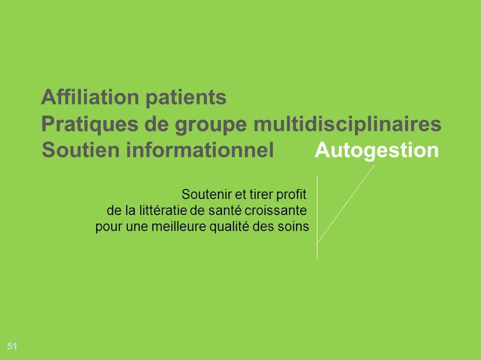 51 Pratiques de groupePratiques de groupe multidisciplinaires Soutien informationnelAutogestion Affiliation patients Soutenir et tirer profit de la littératie de santé croissante pour une meilleure qualité des soins