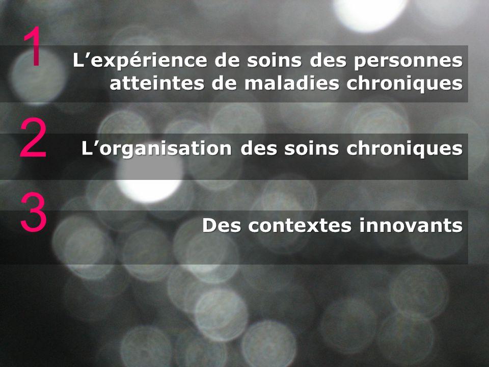 1 Lexpérience de soins des personnes atteintes de maladies chroniques Lorganisation des soins chroniques 2 Des contextes innovants 3