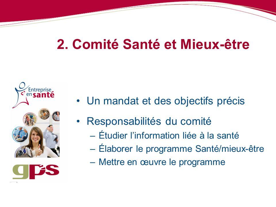 2. Comité Santé et Mieux-être Un mandat et des objectifs précis Responsabilités du comité –Étudier linformation liée à la santé –Élaborer le programme