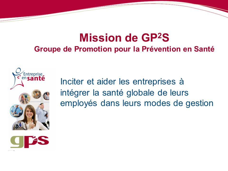 Mission de GP 2 S Groupe de Promotion pour la Prévention en Santé Inciter et aider les entreprises à intégrer la santé globale de leurs employés dans
