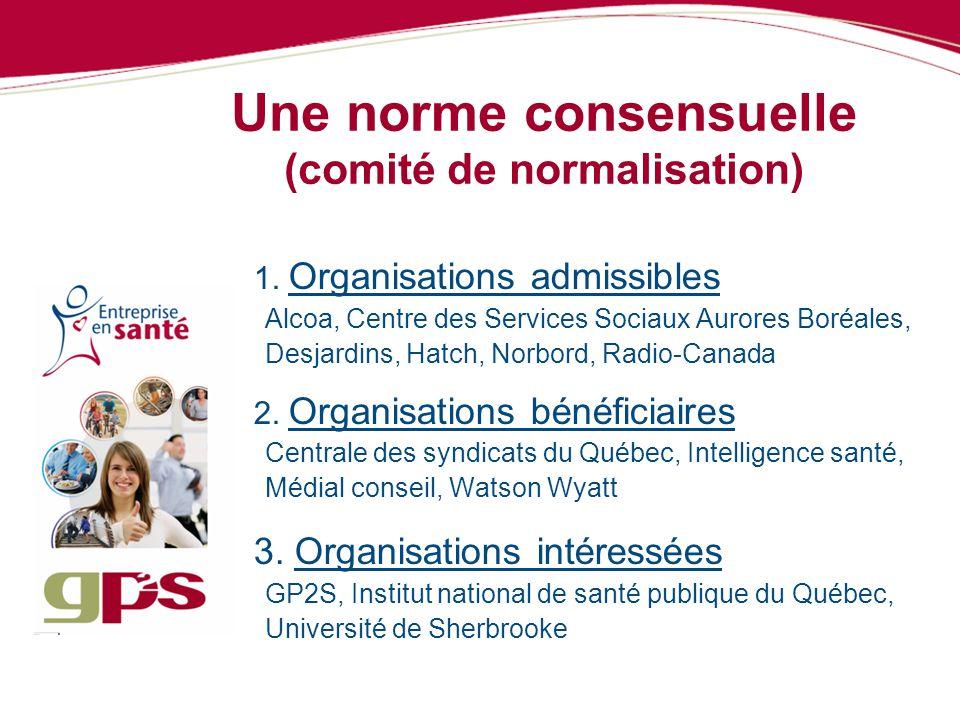 Une norme consensuelle (comité de normalisation) 1. Organisations admissibles Alcoa, Centre des Services Sociaux Aurores Boréales, Desjardins, Hatch,