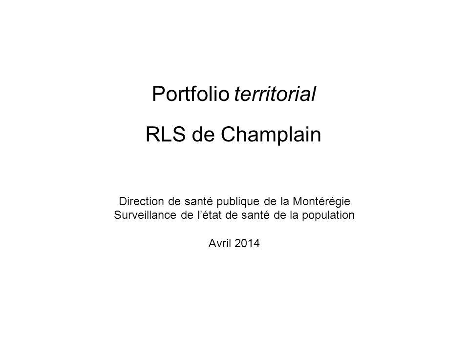 Direction de santé publique de la Montérégie Surveillance de létat de santé de la population Avril 2014 RLS de Champlain Portfolio territorial